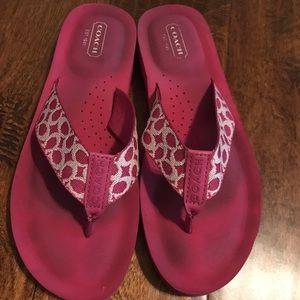 Hot Pink Coach Flip Flops
